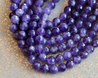 Faceted Amethyst Beads, 8mm Gemstone Beads, Faceted Beads, Amethyst Beads, Natural Stone Beads, Semi Precious Beads, Half Strand, MAN16-0614