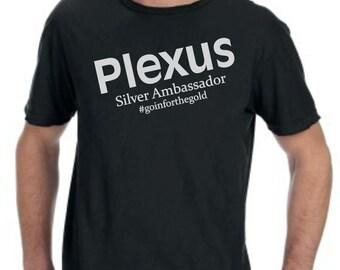 NEW Plexus Silver Ambassador Black Short Sleeved T-shirt Shirt with Metallic Silver Print