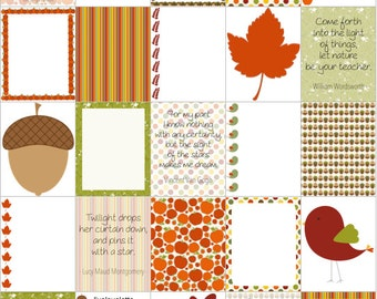 FALL ACORNS BIRDS Leaves for use with Erin Condren Life Planner (vertical) - digital - Instant Download