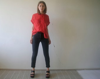 vintage red short dolman sleeve notch / classic collar secretary blouse