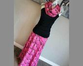 Pink Realtree Camo AP Women's Long Maxi Skirt *Optional* Matching Infinity Scarf & Headband PLUS SIZE Maternity Camouflage Hunting Deer Elk