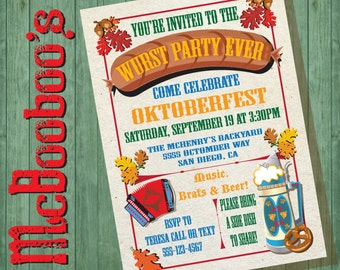 Oktoberfest Wurst Party Ever Invitations with decorative beer stein