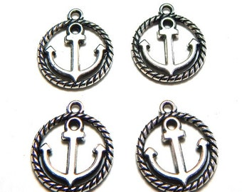 4 Anchor Charms 15mm, Nautical Charm, Anchor Dangle, Anchor Charm,  Boat Charms Antique Silver Alloy Anchor Charm Pendant  SC0068
