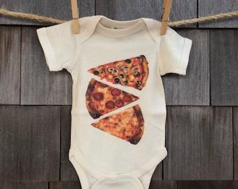 Watercolor pizza slice organic cotton onesie