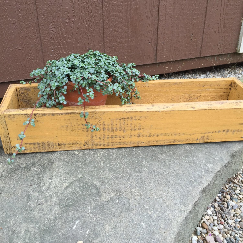 Herb planter trough wood box storage succulent