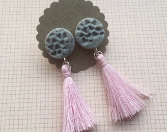 Grey Faux Stone Polymer Clay Earrings with Pastel Pink Tassels