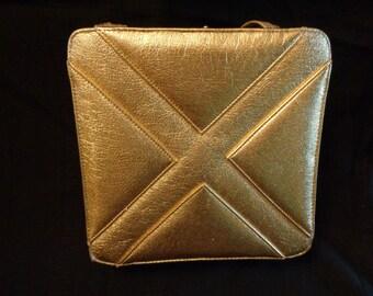 1950's Handbag gold  Berne  large  purse pocketbook  vinyl