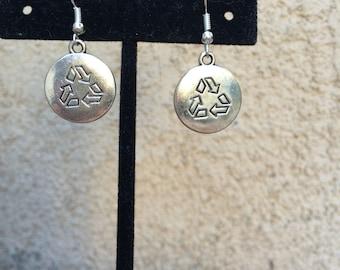 Silver reduce, reuse, recycle earrings
