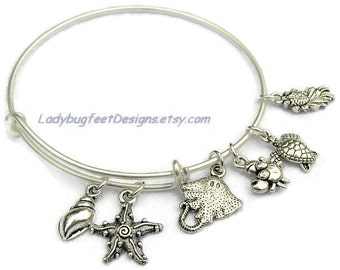 Beach SEA LIFE BANGLE, Adjustable Wire Charm Bangle,Star Fish, Sting Ray,Sea Turtle, Tibetan Silver charm Bracelet,One Size Fits Most