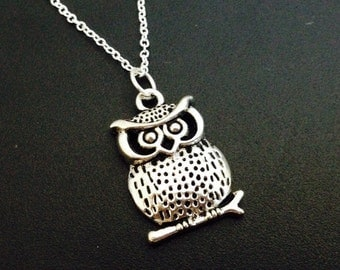 Owl necklace, Antique silver plated owel necklace, birthstone jewelry necklace , 925 silver necklace