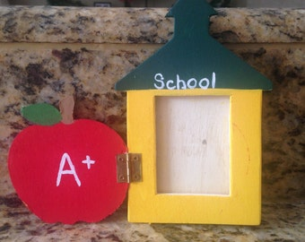 Wooden Schoolhouse Picture Frame