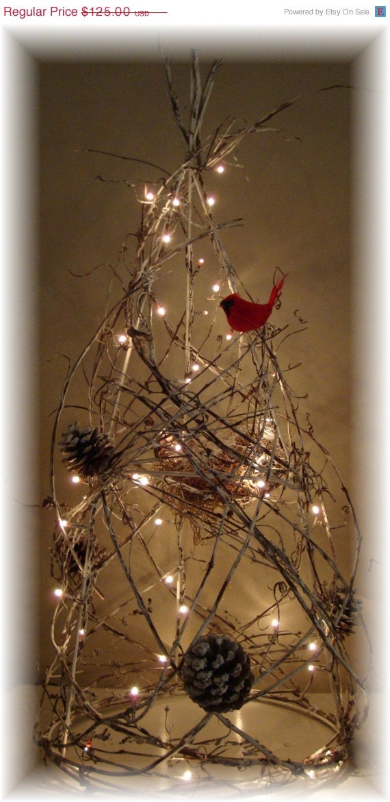 WREATH SALE CUSTOM Grapevine Trees Lighted by HomeHearthGarden