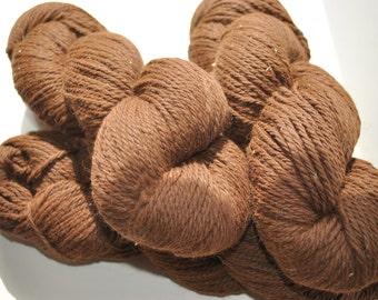Alpaca Yarn Worsted/Aran Weight Natural Dark Chestnut Brown- Lot of 3 skeins