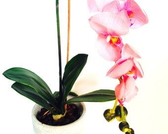 Flower ORCHID -- Artificial flower, synthetic fibers, vintage for interior decoration by SophieLDesign