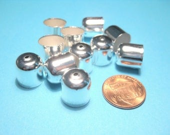 20pcs Large Bright Silver Plated End Tip Bead Caps Tassel caps 12mm( No.951)