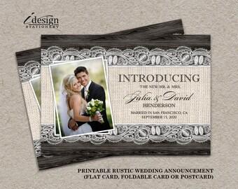 Just Married Photo Wedding Elopement Announcement Card DIY
