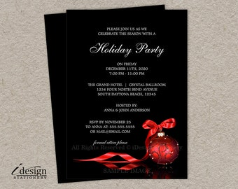 Elegant Christmas Invitations, Printable Corporate Holiday Party Invitation, Personalized Business Christmas Party Invites DIY