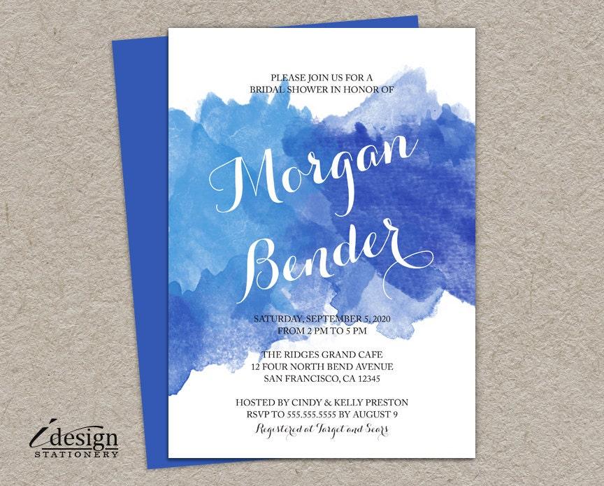 Ombre Wedding Invitation: Blue Watercolor Bridal Shower Invitation Printable Ombre
