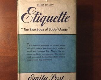 Emily Post Etiquette 1940, Blue Book, Dust Jacket, Vintage Manners, Wedding Etiquette