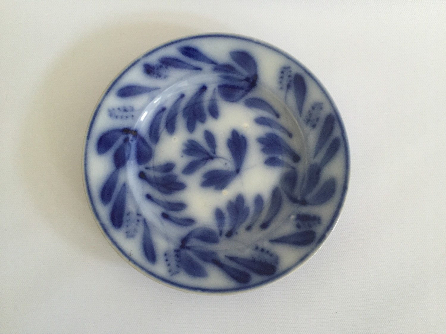 Antique flow blue china plate white by betsyvintagehome