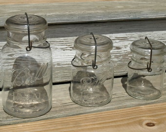 Vintage Glass Canning Jars Wire Side Set of Three Ball Ideal