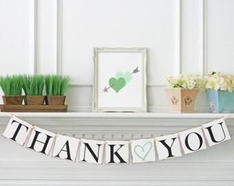 Mint Wedding Decor, Thank you Banner, Thank you Sign, Thank you photo prop, Wedding thank you garland