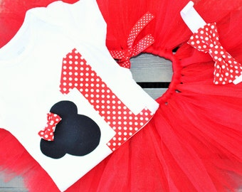 Minnie Mouse first birthday outfit- first birthday tutu onesie- first birthday Minnie Mouse