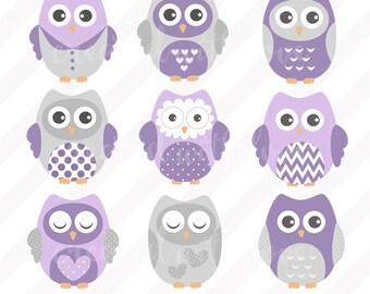 Purple and Grey Owl Clip Art Set  / Owl Illustration / Printable Clip Art / Commercial / Purple and Grey Owls / Children / Nursery A