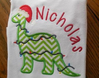Christmas Dinosaur Applique with Name