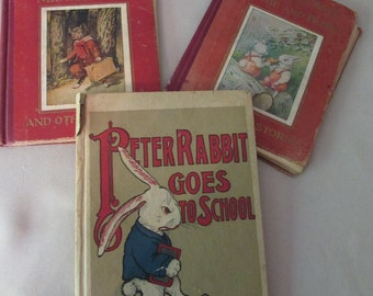 SALE! Children's Books 1917 Peter Rabbit Goes to School, Mr. Tabby Cat, Bonnie and Bunny