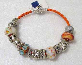 764 - CLEARANCE - White & Orange Bracelet