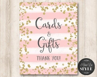Pink and Gold Cards and Gifts Sign, Digital Printable Wedding Sign, Faux Gold Glitter Sign Printable - INSTANT DOWNLOAD