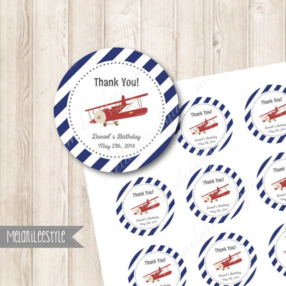Airplane Birthday Party Favor Tags: Items Similar To DIY Printable Airplane Birthday Favor