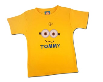 Boy's Yellow Friendly Face Shirt with Embroidered Name - #2