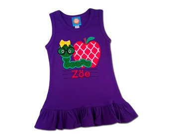 Girl School Dress with Apple and Worm and Embroidered Name