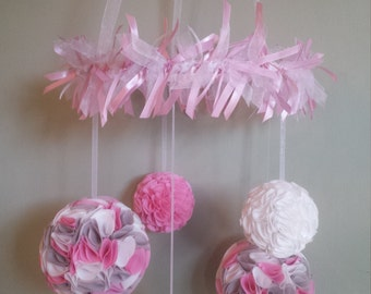Nursery Mobile, Baby Mobile, Crib Mobile, Nursery, Nursery Decor, Pom Pom Mobile, Custom Nursery,  hanging Pom Poms,