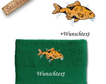 Bath towel embroidered with GOLDFISH + own words