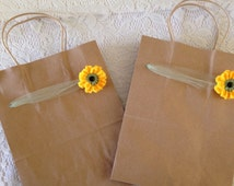 Sunflower Gift Bags, 2 Large Kraft Brown Paper Gift Bags Decorated with Tulle and Crocheted Sunflowers - Use with Gifts for Her