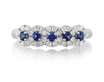 Sapphire Diamond Band 18k White Gold 5 Stone Halo Round Genuine Sapphires & FVS2 Diamonds Wedding Anniversary Band Engagement  IN STOCK