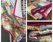 Patchwork floral quilt lap size baby girl paisley damask