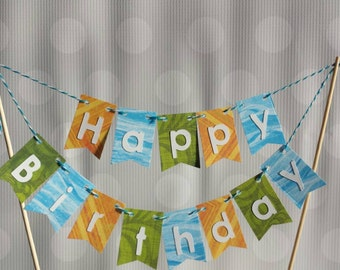 "Cake Bunting, ""Beach Surf"", Happy Birthday, Cake Topper, Paper banner"
