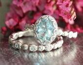 Floral Aquamarine Engagement Wedding Ring Set in 14k White Gold, 9x7mm Oval Aquamarine Ring and Pebble Diamond Wedding Band (Custom Made ok)
