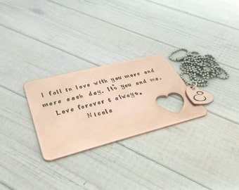 Hand Stamped Wallet Insert  - Copper Wallet Card - Personalized Love Message - 7th Anniversary Wedding Gift -Seventh Anniversary Copper Gift