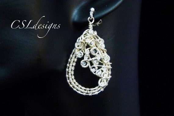 Organic teardrop wirework earrings
