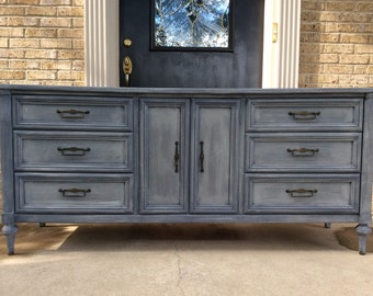 SOLD!!! - Gorgeous Charcoal Gray Vintage Swedish Style 9 Drawer Dresser / Credenza / Buffet Mid Century