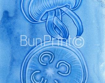 "Twins - 6x8"" Mixed Media Jellyfish - Sea life - Ocean - Drawing - Original Piece"