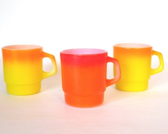 Vintage Fire King Mugs Anchor Hocking Glass Yellow Orange Ombre & Red Set of 3 Coffee Mugs    Mid Century   Halloween Candy Corn Colors