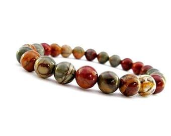 10mm Picasso Jasper, Picasso Jasper Bracelet, Jasper Bracelet, Picasso Jasper Beads, Picasso Jasper Mala Beads Bracelet, Gemstone Bracelet