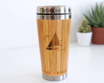 Bamboo Travel Mug, Coffee Lover Gift, Gifts For Dad, Custom Coffee Mug, Sport Gift, Golf Gift, Personalised Hobby Travel Mug