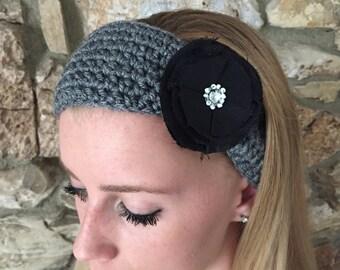 Crochet Headband with a Taffeta Flower, Women's Hairband, Crochet Headwrap, Fall, Winter Headband -  READY TO SHIP!